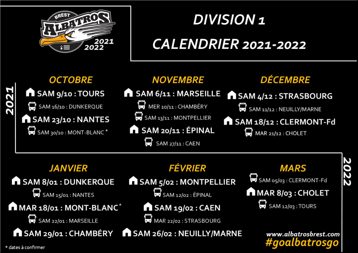 Calendrier Albatros 2021-2022